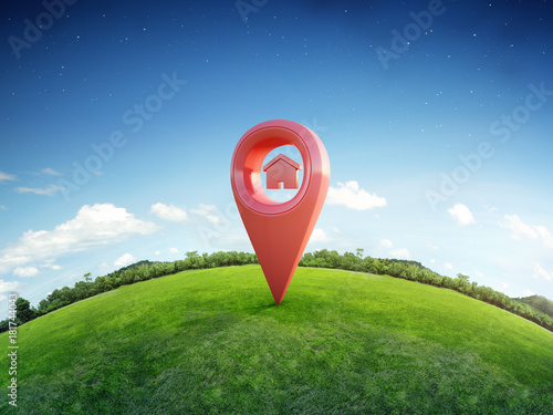 Leinwandbild Motiv House symbol with location pin icon on earth and green grass in real estate sale or property investment concept, Buying new home for family - 3d illustration of big advertising sign