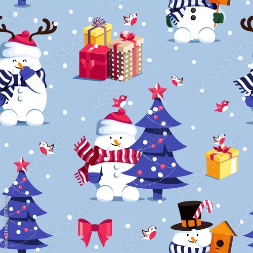 Winter seamless pattern with  cute snowmen christmas tree and gift boxes.  Merry Christmas and Happy New Year background. Vector illustration