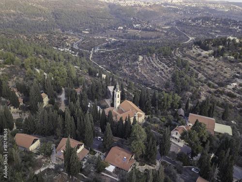 Foto op Canvas Grijs Moscovia Gorny monastery church buildings golden, forest Ein Karem, Jerusalem israel Hadassah Medical Center landscape cityscape view holly religious places tourism.