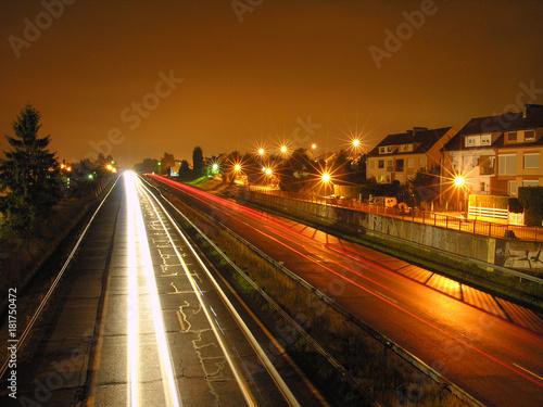 Poster Nacht snelweg Autobahn bei Nacht