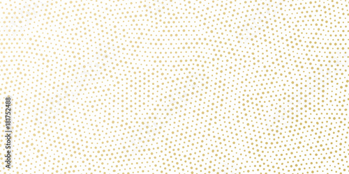 Christmas holiday golden background template for greeting card or New Year gift wrapping paper design. Vector gold dotted pattern for Christmas wrapper seamless golden confetti white background