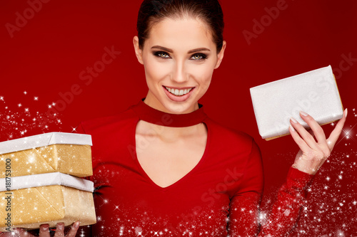 Woman with christmas box gift Poster