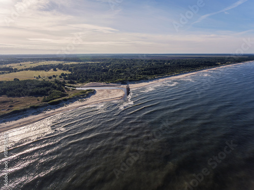 Keuken foto achterwand Grijze traf. Aerial view over a Baltic Sea shore line in Pape, Latvia. During summer season.