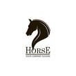 monochrome emblem of horse head on white background