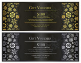 Black Christmas gift voucher with gold and silver snowflakes