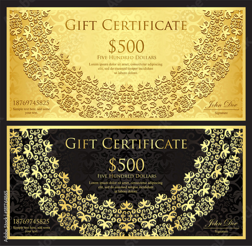 Zdjęcia na płótnie, fototapety, obrazy : Luxury gold and black gift certificate with rounded lace decoration and vintage background