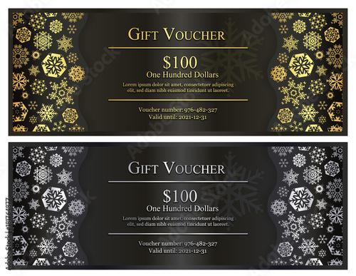 Zdjęcia na płótnie, fototapety, obrazy : Black Christmas gift voucher with gold and silver snowflakes