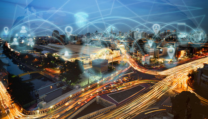 Smart city and internet wireless communication network with icon