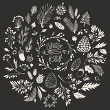 Christmas Composition with Hand-drawn Floral Ornaments, Twigs, Cones and Winter Berries - 181768040