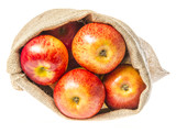 a sack with apples isolated on a white background - 181768062