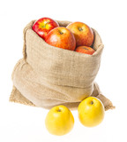 a sack with apples isolated on a white background - 181768091