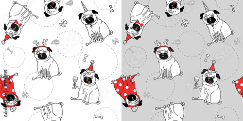 Fotobehang Hipster Hert two Christmas seamless texture with pugs, gray and white background. Funny pugs in different suits. Vector illustration
