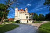 Neo-Gothic style palace surrounded by an English landscape garden in Wojanow, Poland - 181772481