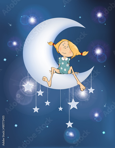 Staande foto Babykamer Illustration The Girl on the Moon