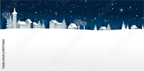 Fotobehang Wit Christmas winter landscape with small village