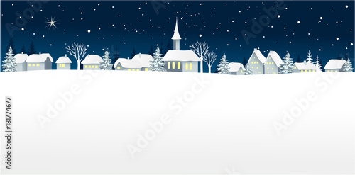 Foto op Plexiglas Wit Christmas winter landscape with small village