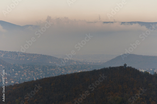 Foto op Canvas Grijs city landscape from Elizabeth look out in Budapest autumn city