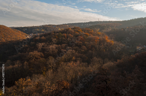 Plexiglas Chocoladebruin Normafa tower look at Budapest city autumn landscape