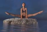 Beautiful girl doing yoga at sea 3d illustration