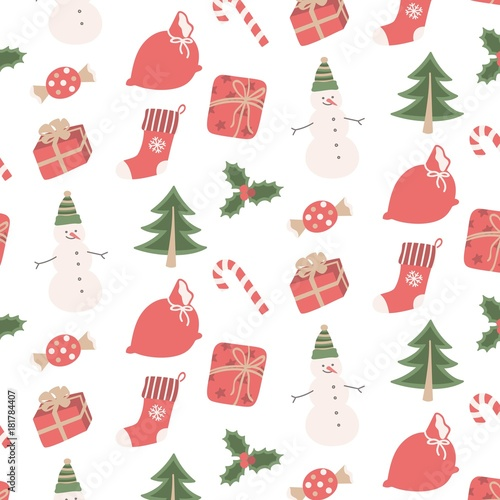 Seamless pattern Christmas set with snowman, gifts, tree, sweets