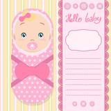 Invitation background with a cute baby, lettering, decorative scrapbook elements and space for text.