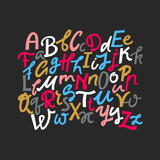 Vector set of uppercase and lowercase colored  handwritten letters on a black background.
