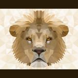 Abstract polygonal lion head. Modern low poly lion portrait pattern background