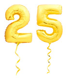 Golden number 25 twenty five made of inflatable balloon with ribbon isolated on white - 181790409