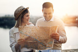 Beautiful couple traveling and sightseeing - 181790835