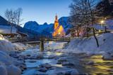 St. Sebastian Parish Church at night in winter at Berchtesgadener Land, Bavaria, Germany - 181791044