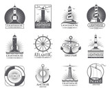 Vintage nautical labels with light house, sea boat and anchors. Old navy logos set