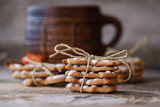 ginger biscuits and a large coffee mug - 181795431