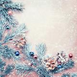 Frame of Christmas decorative pine cones, creative flatlay - 181795861