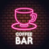 Coffee bar neon lights icon vector illustration graphic design