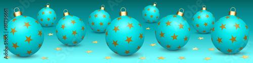 Poster Turkoois Bannière. Boules de Noël. Fond cyan