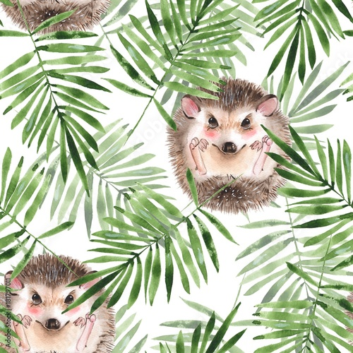 Hedgehog and leaves. Seamless floral pattern. Watercolor illustration 1 - 181797011
