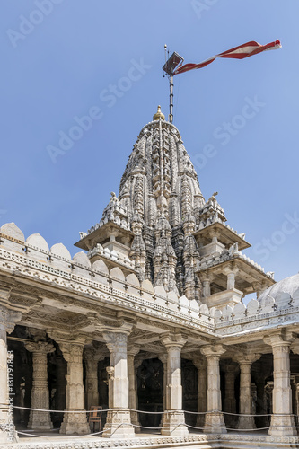 Waving flag on top of the Ranakpur Jain Temple, Rajasthan, India