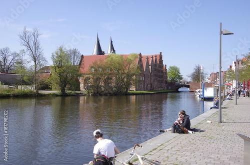Poster Brugge リューベック 運河の畔