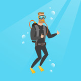 Young caucasian white man in diving suit swimming underwater with scuba and showing thumb up. Happy scuba diver giving thumb up. Man enjoying the dive. Vector cartoon illustration. Square layout. - 181799283