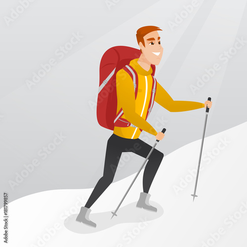 Caucasian white mountaineer climbing a snowy ridge with help of hiking poles. Young mountaineer with a backpack and trekking poles walking up along a ridge. Vector cartoon illustration. Square layout.