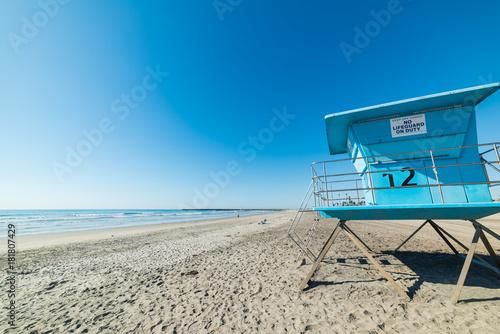 Lifeguard hut in Oceanside shore Poster