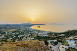 Beautiful aerial view of the village Kefalos, Kastri island and the coast of Kos at sunrise, Dodecanese, Greece