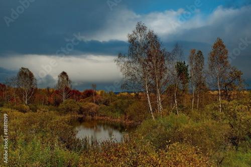 Fotobehang Blauwe jeans Russia. Autumn weather on the fields of Western Siberia