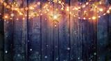 String Light Hanging At Vintage Wooden Background - 181812019