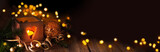 Dark christmas and new year background with lantern and magic bokeh lights  -   Banner, Panorama