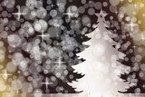 White wooden decorative Christmas tree background, Bokeh effect - 181814291