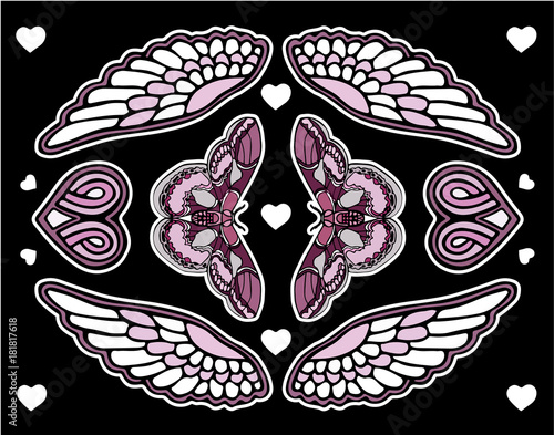 Poster Vlinders in Grunge Set of butterfly and flowers patches elements. Print on tshirts and other materials. Set of stickers, pins, patches and handwritten notes collection in cartoon.