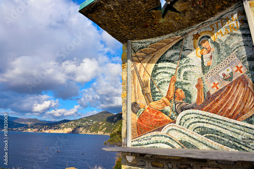 Foto op Canvas Liguria a mosaic dedicated to the star Maris reachable on foot from San Rocco, and along a path of almost 1000 steps San Rocco di Camogli Italy
