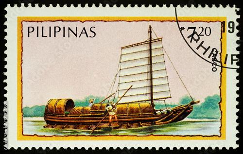 Keuken foto achterwand Schip Boat casco on postage stamp