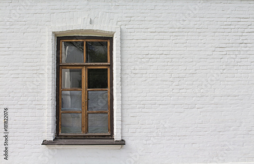 Wooden window on white wall - 181822076